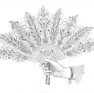 Free Antique Clip Art – Pen Flourishing Fan and Hand