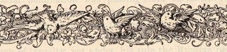 Old Printer's Ornament- Birds and Scrolls