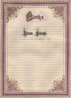 Ornate Frame – Birth Register
