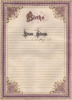 Ornate Frame – Birth Register