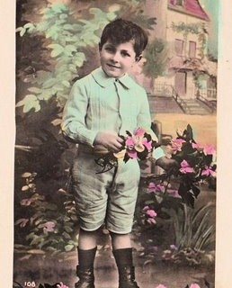 French Postcard – Boy with Flowers