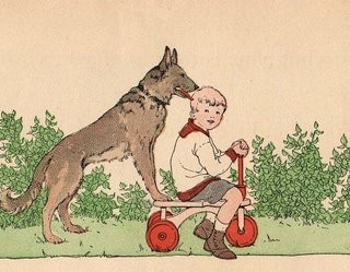 Charming Vintage Graphic – Boy with Dog
