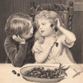 Antique Graphic – Children with Cherries