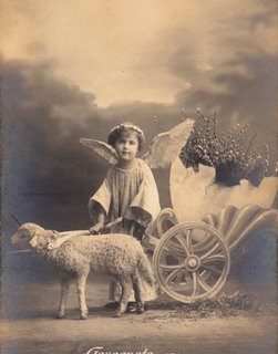 Free Vintage Clip Art – Easter Angel with Lamb
