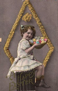 Vintage Easter Graphic- Girl w/ Basket of Eggs