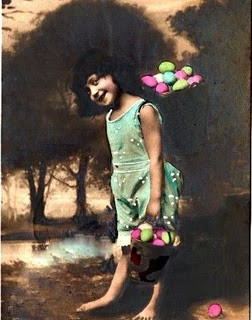 Vintage Easter Girl w/ Sepia Background