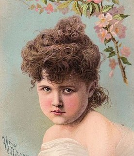 Old Trade Card – Girl with Cherry Blossoms