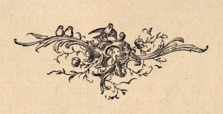 Antique Printers Ornament- Flourishes and Birds