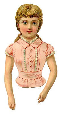 Victorian Clip Art – Pretty Pink Scrap Girl or Paper Doll