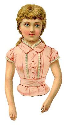 Victorian Clip Art – Pretty Pink Scrap Girl or Paper Doll