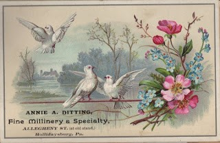 Old Millinery Card – White Doves