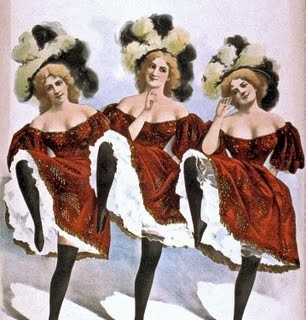 Free Vintage Clip Art – 3 Dancing Show Girls