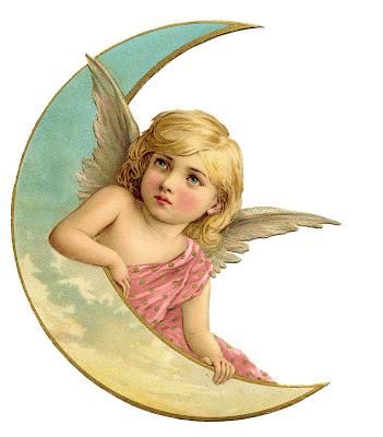 Vintage Christmas Image – Amazing Angel on Moon 2