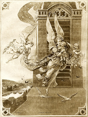 Antique French Graphic – Sepia Angels with Child