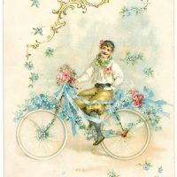 Antique Image - Dreamy Bicycle Man - Graphics Fairy