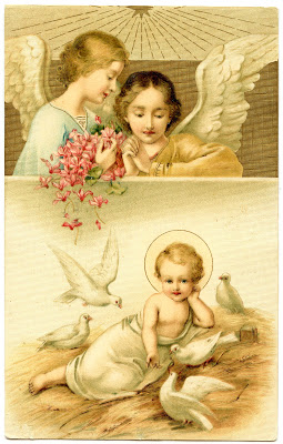 Antique Graphic – Beautiful Baby Jesus, Angels and Doves