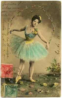 Old Photo – Pretty Ballerina with Aqua Tutu