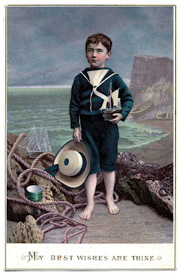 Victorian Graphic – Boy at The Ocean – Unusual