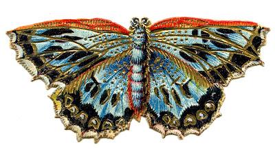 Antique Graphics – 2 Colorful Butterflies