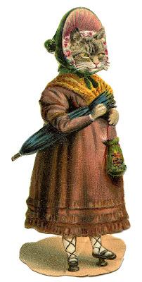 Antique Graphic – Fancy Cat in Dress and Bonnet