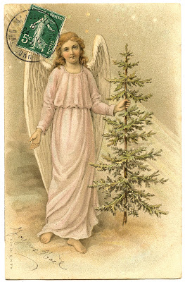 Vintage Image – Lovely French Angel with Tree