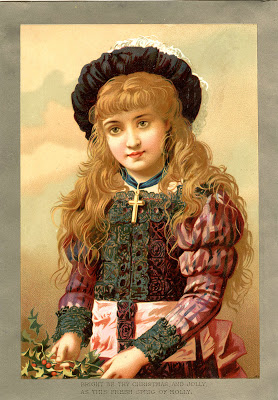 Old World Christmas Image – Beautiful Girl with Holly