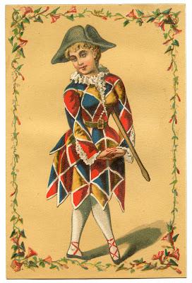 Vintage Image – Harlequin Clown Girl – Mardi Gras