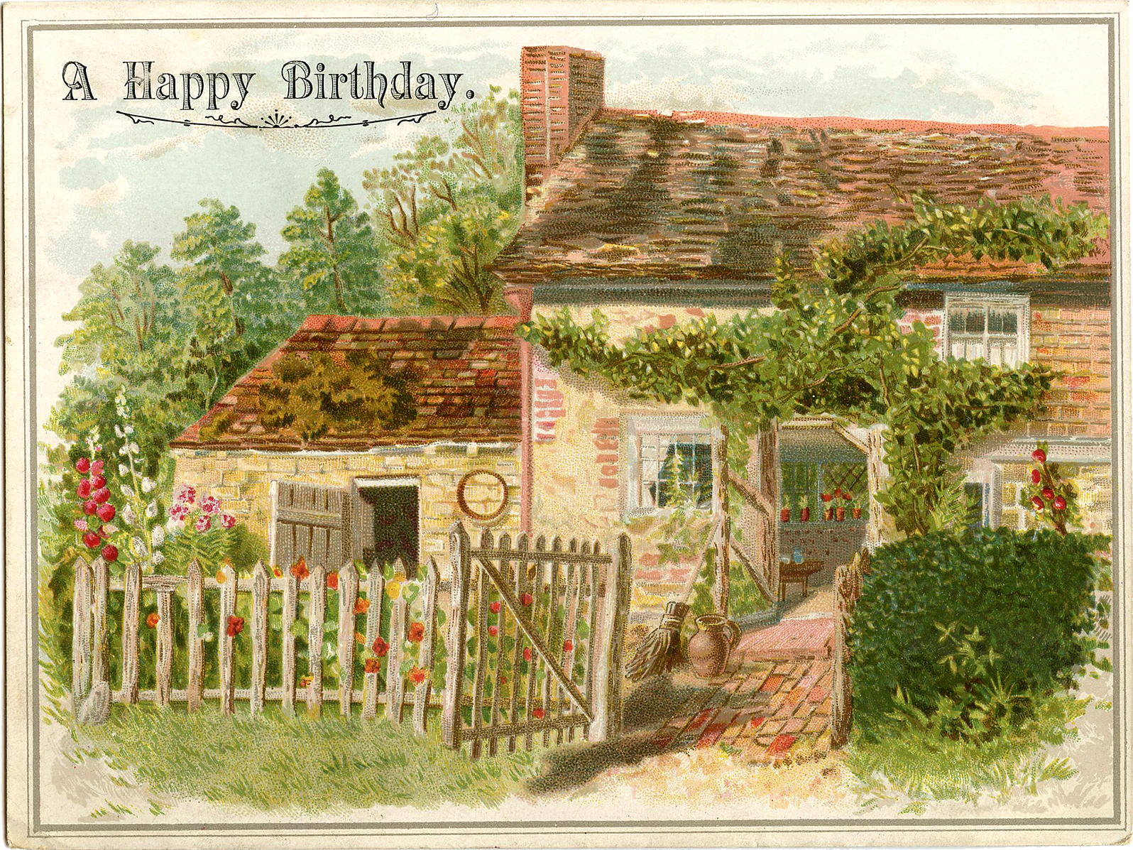 vintage birthday image  charming cottage  the graphics fairy, Birthday card