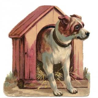 Vintage Clip Art – Dog in Dog House
