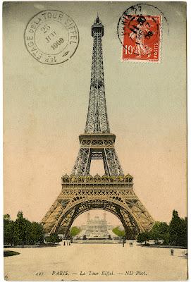Vintage Image – Eiffel Tower Photo and Postmark