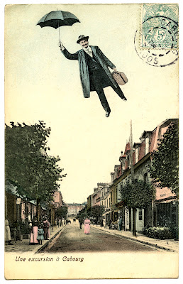Old Photo – Flying Man with Umberella