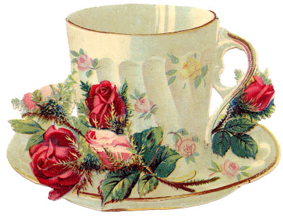 Free Vintage Images – Teacup with Roses – French