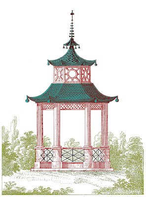 Antique Garden Graphic Beautiful Pagoda Gazebo The