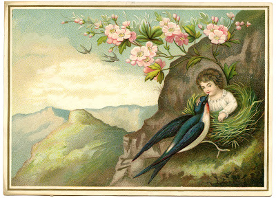 Vintage Image – Amazing Girl in Nest – Surreal