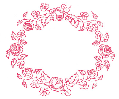 Royalty Free Images – Rose Wreaths – Embroidery Pattern
