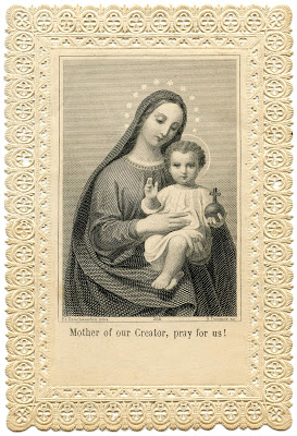 Antique Image – Lace Holy Card – Jesus and Mary