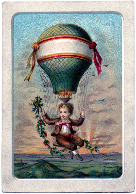 Vintage Graphic – Boy in Hot Air Balloon + Digital Papers