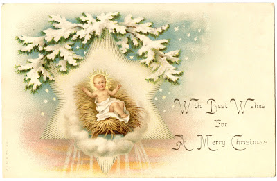 Vintage Christmas Image – Beautiful Jesus in Manger