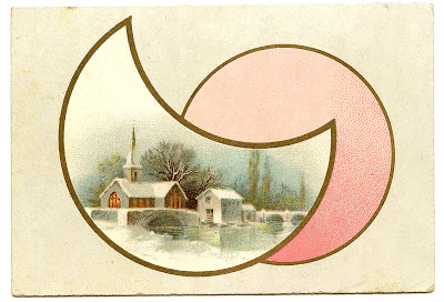 Vintage Christmas Graphic – Winter Church Scene – Moon