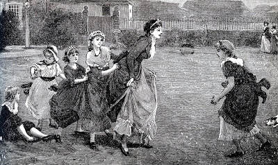 Antique Engraving - Mother Playing with Children  Mother's Day