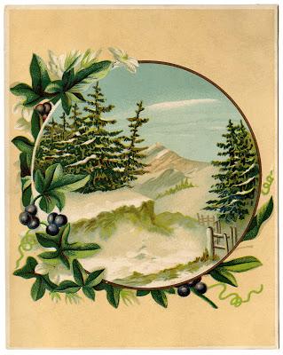 Antique Graphic – Winter Mountain Scene