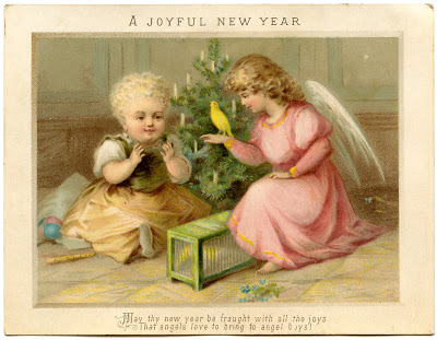 Victorian New Year Graphic – Angel with Child and Bird
