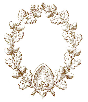 Vintage Fall Clip Art – Oak Leaf and Acorn Wreath
