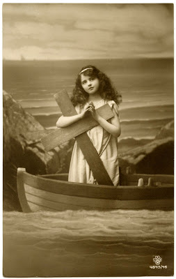 Old Photo - Beautiful Young Girl in Boat with Cross