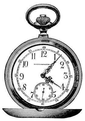 Vintage Clip Art – Marvelous Pocket Watch – Steampunk