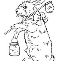 Printable Coloring Page - Easter Bunny - The Graphics Fairy