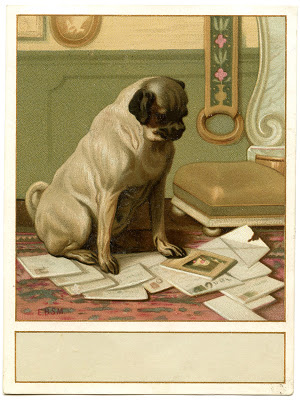 Vintage Image – Cute Dog with Mail – Label