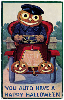 Vintage Halloween Clip Art Pumpkin Man Driving Car The
