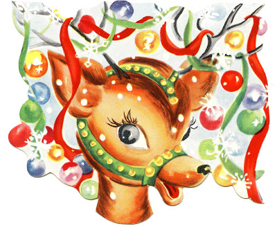 Retro Christmas Image – Colorful Cute Reindeer