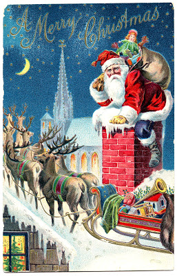 Vintage Graphic – Gorgeous Santa with Reindeer